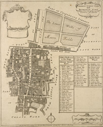 Coleman Street ward and Bashishaw [sic] ward taken form the last survey, with corrections and additions (1754)